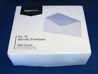 "500 AMAZONBASICS #10 White Wove Security Tint 4 1/8 x 9 1/2"" Envelopes - NEW Box"