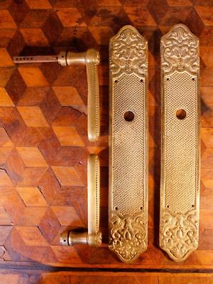 PAIR Vintage French Gilt Solid Brass Door Handles Backplates Chateau Chic Rococo