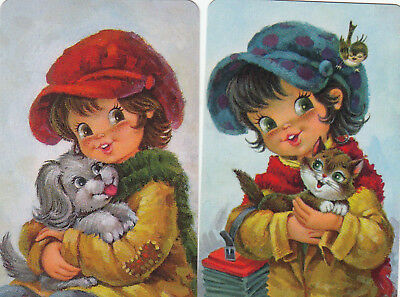 2 Swap Playing Cards - Cute Wide Eyed Children Boy With Puppy Dog