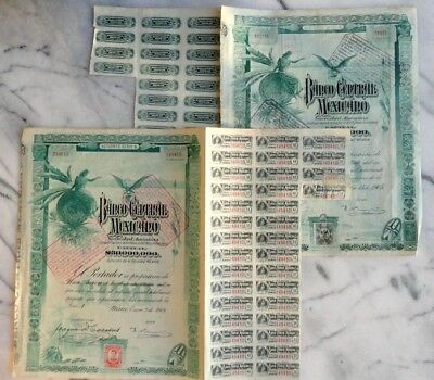 Mexico (2 accion) 1908 et 1905  Banco Bank Central Mexicano avec coupons