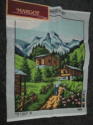 Vintage Tapestry Margot France Large Colour Printed Canvas Alpine Village Summer