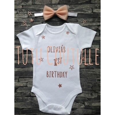 Personalised Girls Cake smash Vest 1st Birthday Outfit 12-18 Rose Gold Any Name