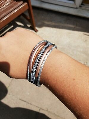 Peace Of Mind Silver & Bronze Leather Tube Wrap Bracelet