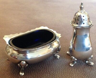 A Silver Plated Walker & Hall Salt. And A Pepper.
