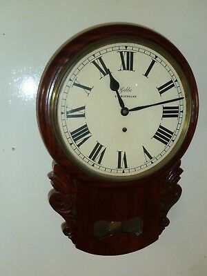 Antique American drop dial wall clock c1900 good condition & working order