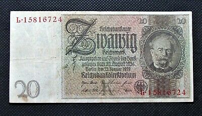 Old Bank Note Of Nazi Germany 20 Reichsmark 1929 Third Reich No. L15816724