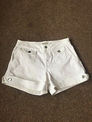 KAREN MILLEN Ladies Designer  White Denim Shorts size 8-10