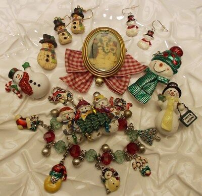 Christmas SNOWMEN Large Pins Brooches, Bracelets & More SNOWPEOPLE Lot of 9