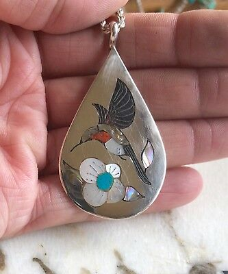 Larry Watchman Navajo Native American Sterling Multi Stone Hummingbird Necklace