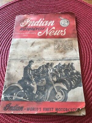 Original 1947 Indian Motorcycle News Magazine Chief Scout Motorcycle Book