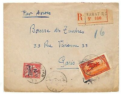 LB97 1922 French Morocco Registered to Paris France {samwells-covers}PTS