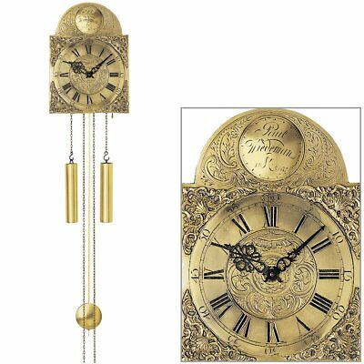 Ams 539 Wall Clock with Pendulum Mechanical Brass Old Antique