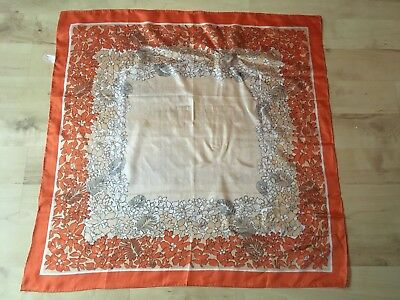 Vintage HAPPINESS Orange & Peach Floral Chinese Silk Scarf
