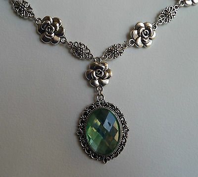 Camellia Filigree Victorian Style Light Green Acrylic Silver Plated Necklace Cf