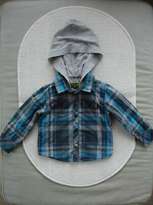 Baby Boys Check Hooded Shirt Size 12-18 months- Ted Baker