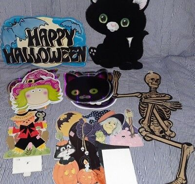 Halloween Paper-Cardboard Cut Outs- Witches, Black Cat, Happy Halloween