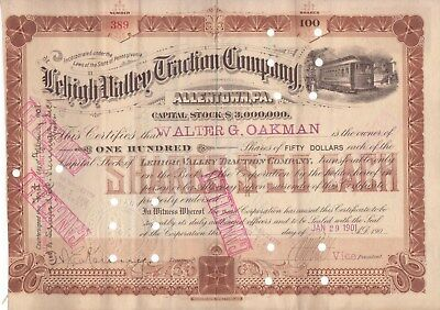 1901 Lehigh Valley Traction Company (Allentown, Pa) stock certificate