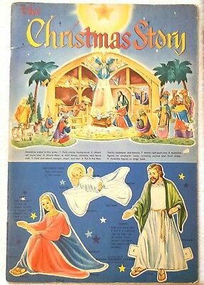 The Christmas Story. 1952. Cut-out Nativity Scene. Never used. Whiteman, USA