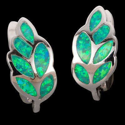 Nature Leaf Shape Kiwi Green Fire Opal Silver Jewelry Leverback Hoop Earrings