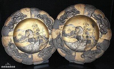 Pair Antique Japanese Bronzed & Gilded Metal Samurai Plates / Plaques