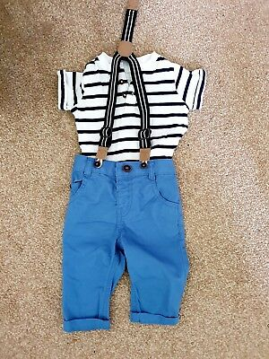 Baby Boy Clothes 0-3 Months Smart Outfit chinos, braces, stripey top