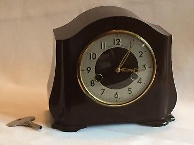 Smiths Enfield Bakelite Chiming Clock 1950s With Key