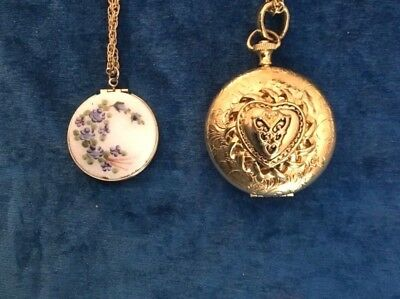 Vintage set of two picture lockets - gold tone - Gilloche finish