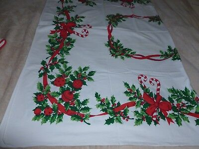 """Vintage Christmas Linen Table Cloth 52""""x 62"""" Holly Ornaments Candy Canes Perfect"""