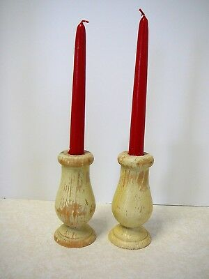 Reclaimed Painted Wooden Candlesticks Holders Antique Shabby Rustic
