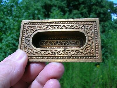 Vintage Old Antique Bronze Victorian Pocket Door Escutcheon Pull Handle (2)