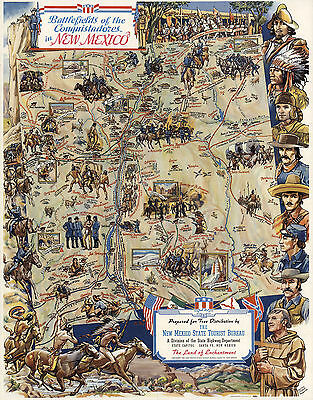 1942 Map Battlefields of the Conquistadors In New Mexico History Wall Art Poster