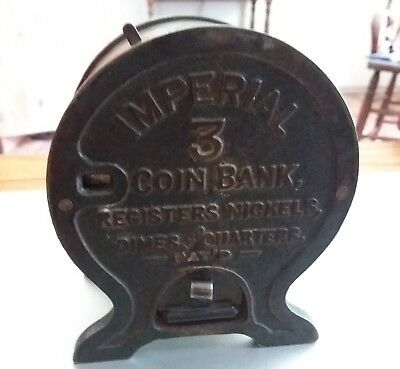 RARE 1907 Antique IMPERIAL 3 Self Registering Cast Iron BANK Plaget Novelty NYC