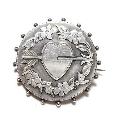 Beautiful Old Antique Victorian Sweet Heart Brooch Pin Chester 1885 Love (B15)