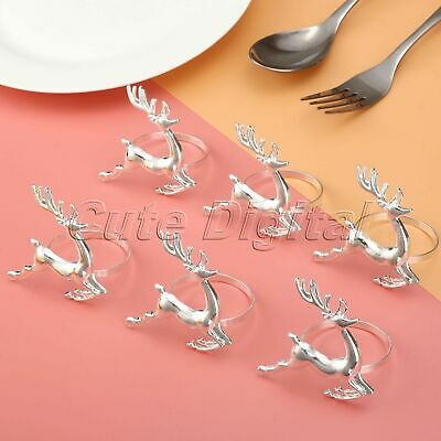 Deer Napkin Rings Silver Table Decoration Christmas Party Serviette Holder 6 x