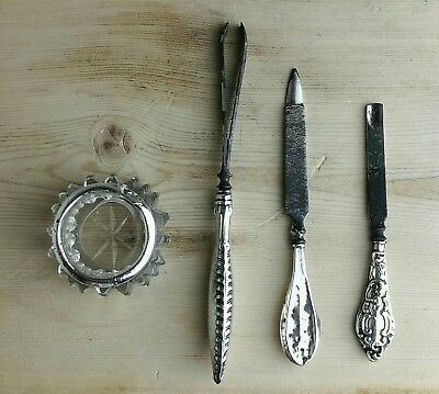Antique Art Nouveau Art Deco Solid Silver Manicure Set Grooming Tweezers Signed