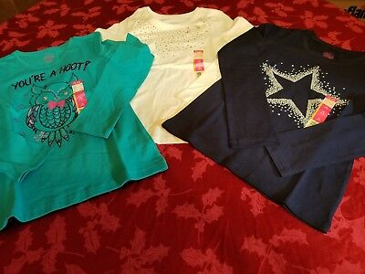 Girls Long Sleeved Faded Glory Shirts Size M (7-8) Lot Of 3 - New With Tags