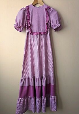Teen 70s vintage prairie maxi dress age 13 dark pink & white stripey gingham