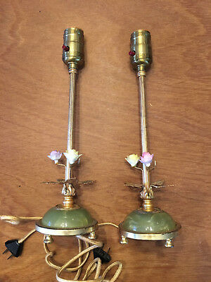Pair Antique Jadeite Jadite Table Lamps Porcelain Flowers Gold Leaves Cloth Cord
