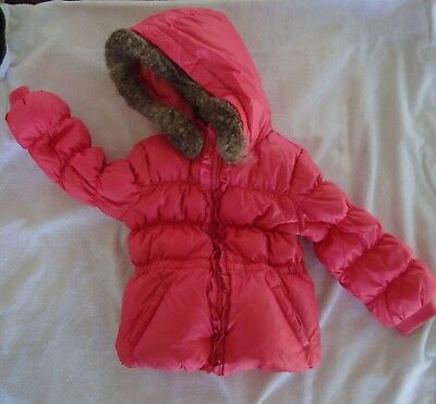 Baby Gap 4T Toddler Girl's Coral Down Puffer Jacket  Hood Fleece Lined Coat