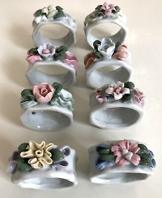 Set of 8 Vintage Porcelain Pastel Floral Napkin Rings Holders - new in box