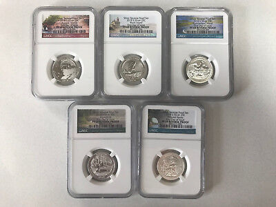2018 S Silver ATB Quarter 5 Coin Set REVERSE PROOF First Day Issue NGC PF69(POR)