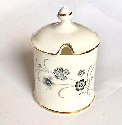 Crown Staffordshire Mustard/Jam Jar With Lid Fine Bone China England