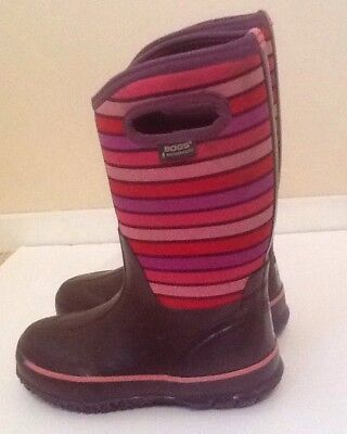 BOGS Purple Striped  Waterproof Rain Boots size Youth US 3 35