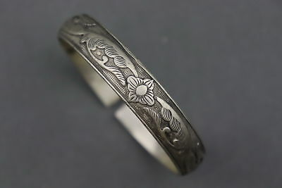 China Collectable Old Miao Silver Carve Blooming Flower Exquisite Lucky Bracelet