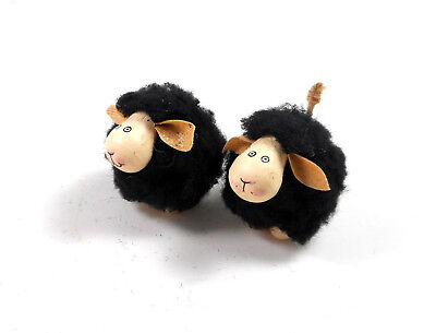 Silver Tree Mini Black Sheep Ornaments set of 2 for Table Top Tree