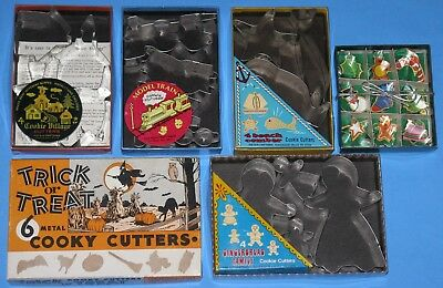 Lot of 6 VTG Metal COOKIE CUTTER SETS Original Box Minitures Village Beach Train
