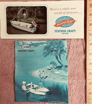 2 early 1960s FEATHER CRAFT BOAT brochures, very nice condition.