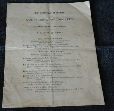 University Of Sydney Conferring Of Degrees Programme May 1941 #4