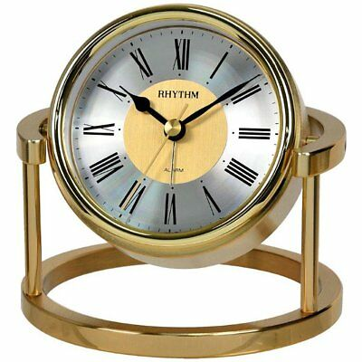Rhythm 7958 Table Clock Quartz Golden without Ticking with Alarm Function