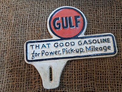 GULF LICENSE PLATE TOPPER  Cast Iron Coin SIGN CAN OIL GAS PUMP Good Gasoline
